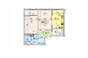 ЖК Podol Plaza & Residence: планировка 2-комнатной квартиры 74.48 м²