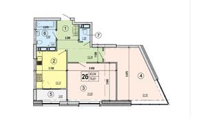 ЖК Podol Plaza & Residence: планировка 2-комнатной квартиры 76.81 м²
