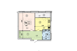 ЖК Podol Plaza & Residence: планировка 1-комнатной квартиры 53.67 м²
