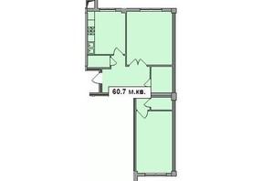 ЖК Погулянка: планировка 2-комнатной квартиры 60.7 м²