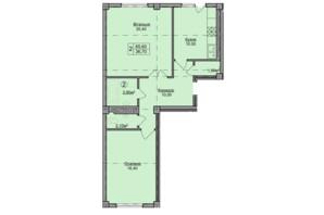 ЖК Погулянка: планировка 2-комнатной квартиры 65.6 м²