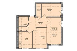 ЖК Погулянка: планировка 3-комнатной квартиры 83.4 м²