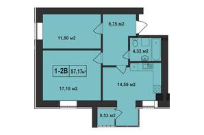 ЖК Покровский: планировка 2-комнатной квартиры 57.17 м²