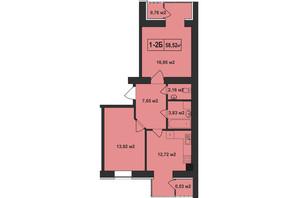 ЖК Покровский: планировка 2-комнатной квартиры 58.52 м²