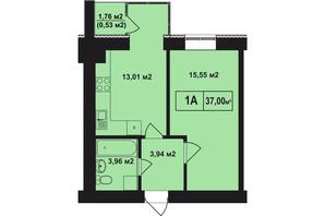 ЖК Покровский: планировка 1-комнатной квартиры 37 м²