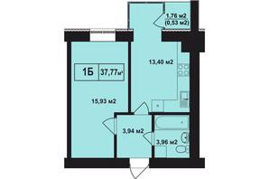 ЖК Покровский: планировка 1-комнатной квартиры 37.77 м²
