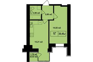 ЖК Покровский: планировка 1-комнатной квартиры 38.4 м²