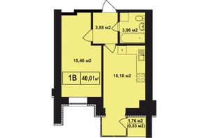 ЖК Покровский: планировка 1-комнатной квартиры 40.01 м²