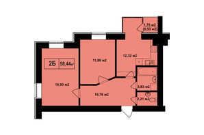 ЖК Покровский: планировка 2-комнатной квартиры 58.44 м²