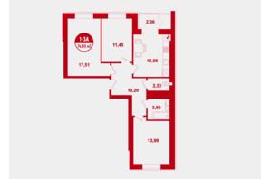 ЖК Покровский: планировка 3-комнатной квартиры 74.8 м²