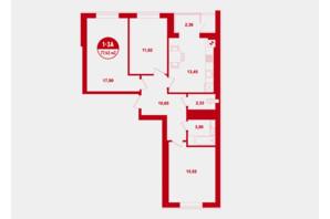 ЖК Покровский: планировка 3-комнатной квартиры 77.43 м²