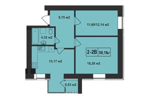 ЖК Покровский: планировка 2-комнатной квартиры 59.19 м²