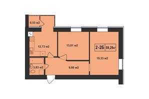 ЖК Покровский: планировка 2-комнатной квартиры 59.29 м²