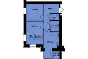 ЖК Покровский: планировка 2-комнатной квартиры 55 м²