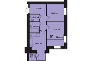 ЖК Покровский: планировка 2-комнатной квартиры 56.97 м²