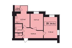 ЖК Покровский: планировка 2-комнатной квартиры 60.52 м²