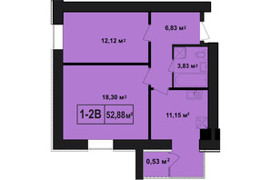 ЖК Покровский: планировка 2-комнатной квартиры 52.88 м²