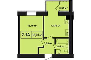 ЖК Покровский: планировка 1-комнатной квартиры 36.01 м²