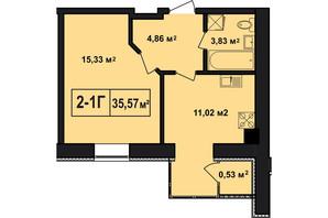 ЖК Покровский: планировка 1-комнатной квартиры 35.57 м²