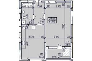 ЖК Покровський: планування 1-кімнатної квартири 61.64 м²