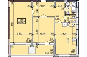 ЖК Покровський: планування 2-кімнатної квартири 86.94 м²