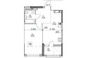 ЖК Polaris Home&Plaza: планировка 1-комнатной квартиры 41.43 м²