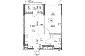 ЖК Polaris Home&Plaza: планировка 1-комнатной квартиры 43.13 м²