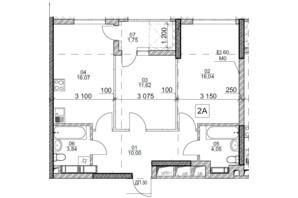 ЖК Polaris Home&Plaza: планировка 2-комнатной квартиры 63.37 м²