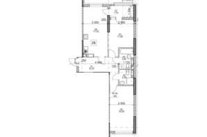 ЖК Polaris Home&Plaza: планировка 2-комнатной квартиры 64 м²