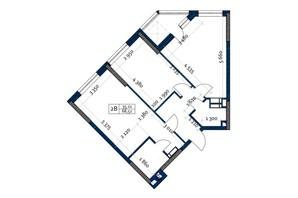 ЖК Polaris Home&Plaza: планировка 2-комнатной квартиры 68.52 м²
