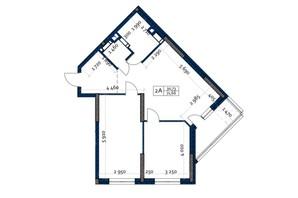 ЖК Polaris Home&Plaza: планировка 2-комнатной квартиры 71.66 м²