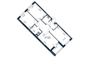 ЖК Polaris Home&Plaza: планировка 3-комнатной квартиры 83.51 м²