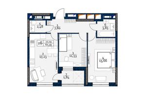 ЖК Polaris Home&Plaza: планировка 2-комнатной квартиры 60.39 м²