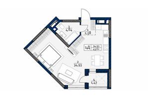 ЖК Polaris Home&Plaza: планировка 1-комнатной квартиры 43.62 м²