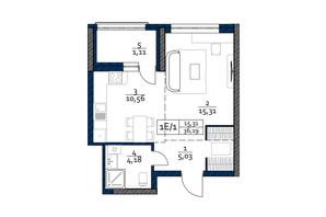ЖК Polaris Home&Plaza: планировка 1-комнатной квартиры 36.19 м²