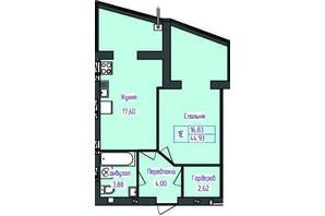 ЖК Польский бульвар: планировка 1-комнатной квартиры 44.93 м²