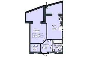 ЖК Польский бульвар: планировка 1-комнатной квартиры 45.7 м²