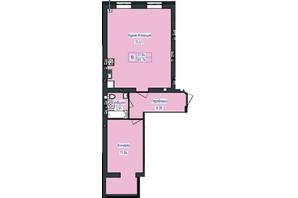 ЖК Польский бульвар: планировка 1-комнатной квартиры 65.74 м²