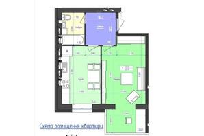 ЖК Польский бульвар: планировка 1-комнатной квартиры 45.91 м²