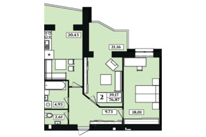 ЖК Польський бульвар: планування 2-кімнатної квартири 74 м²