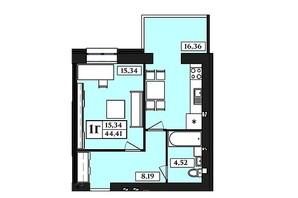 ЖК Польський бульвар: планування 1-кімнатної квартири 44.41 м²
