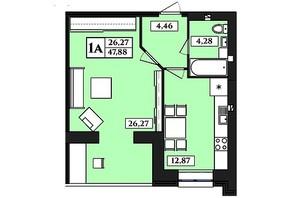 ЖК Польський бульвар: планування 1-кімнатної квартири 47.88 м²