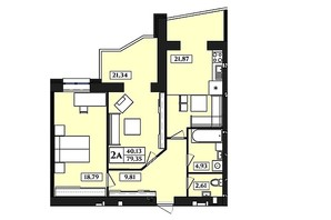 ЖК Польский бульвар: планировка 2-комнатной квартиры 79.35 м²