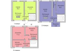 ЖК Поршна-Навария: планировка 3-комнатной квартиры 100 м²