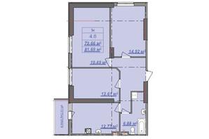 ЖК Посейдон: планировка 3-комнатной квартиры 81.69 м²