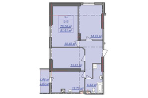 ЖК Посейдон: планировка 3-комнатной квартиры 81.61 м²