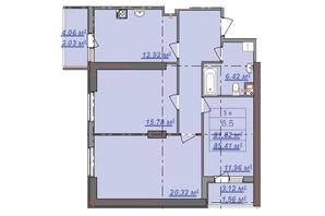 ЖК Посейдон: планировка 3-комнатной квартиры 85.41 м²