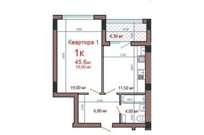 ЖК Потемкинский: планировка 1-комнатной квартиры 45.6 м²