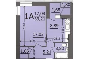 ЖК Потемкинский: планировка 1-комнатной квартиры 39.21 м²