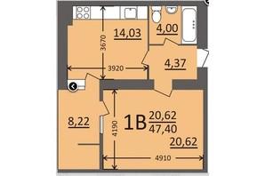 ЖК Потемкинский: планировка 1-комнатной квартиры 47.4 м²
